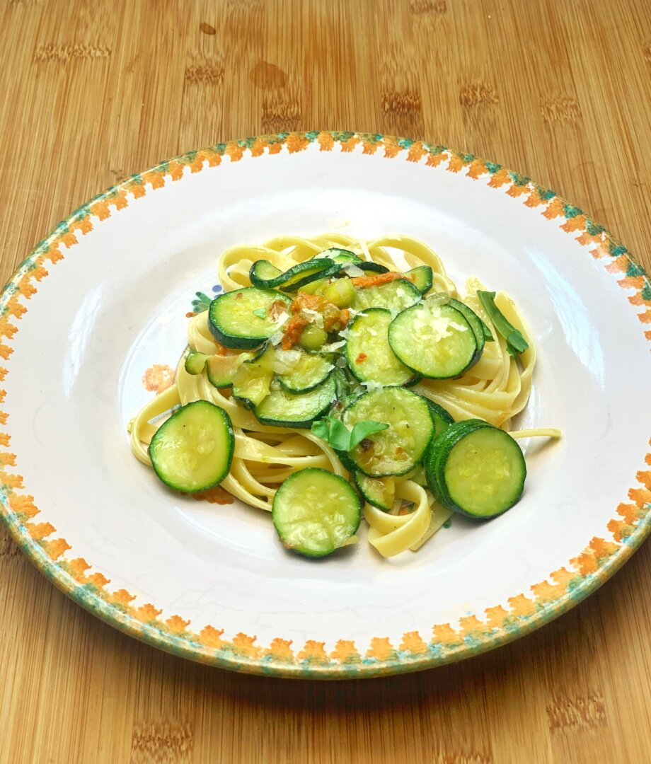Linguine with Spring Courgettes and blossoms